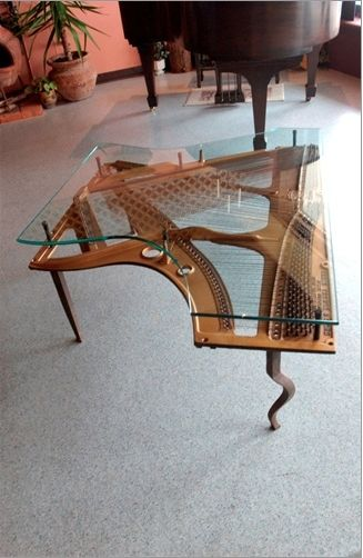Brilliant Hand Made Repurposed Piano Harp Table With Custom Glass By Download Free Architecture Designs Sospemadebymaigaardcom
