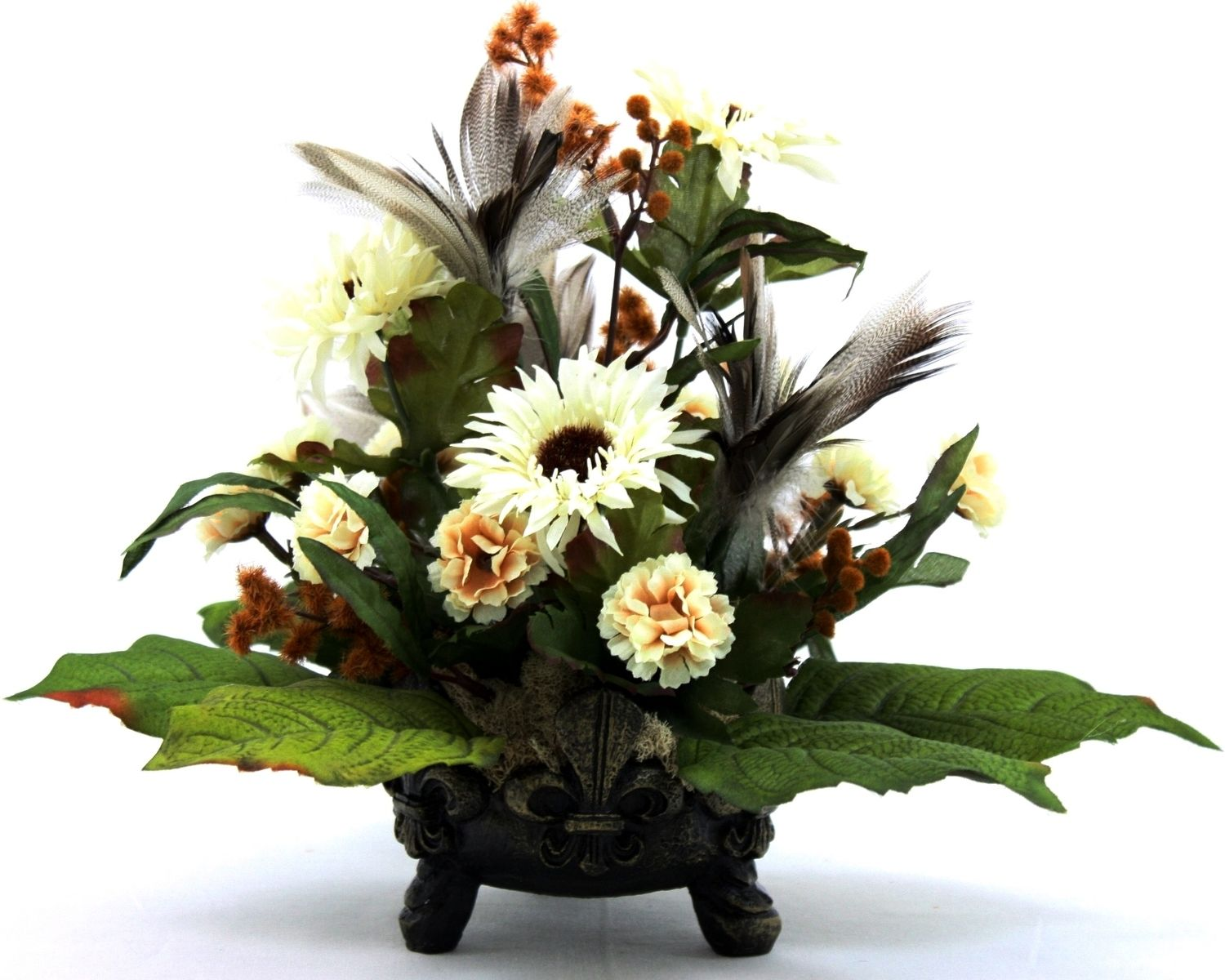 Hand Crafted Unique Silk Flower Arrangement Table Centerpiece