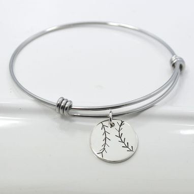 Custom Made Baseball Softball Adjustable Bangle Bracelet Stacking Charm Bracelet