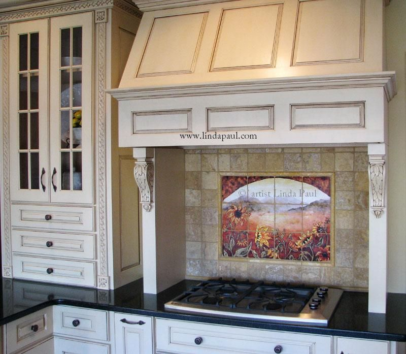 Hand made sunflower kitchen backsplashes tile murals by for Backsplash tile mural