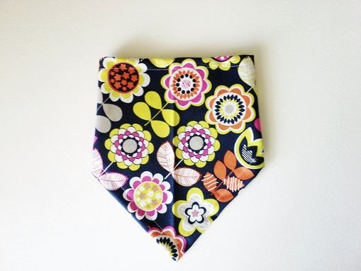 Custom Made Modern Flower Reversible Bandana Bib For Baby