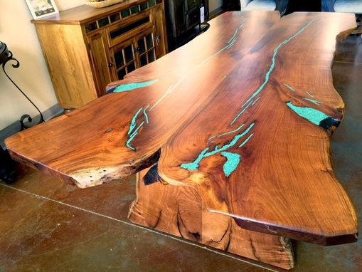 Custom Made Slab Live Edge Mesquite Rustic Dining Table Turquoise Inlay