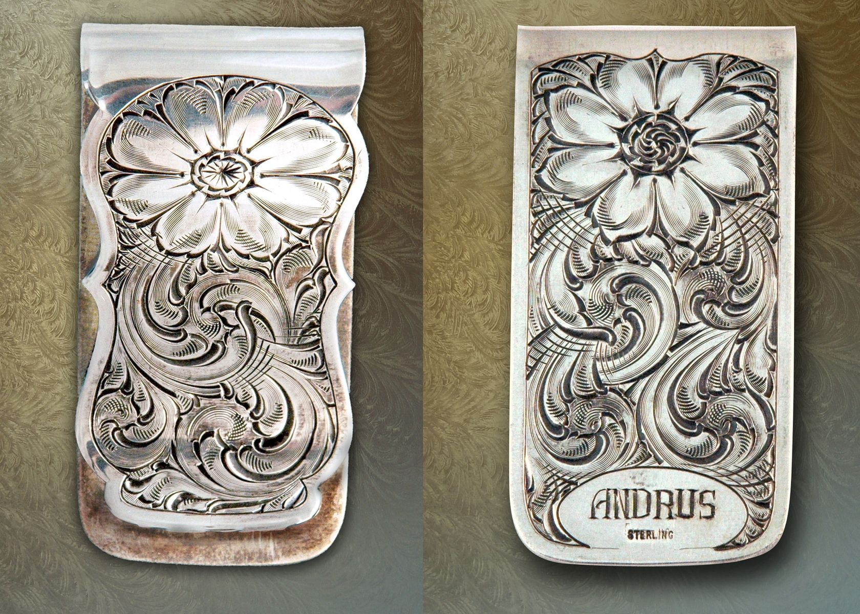 Sterling Silver Money Clip, Hand-Engraved