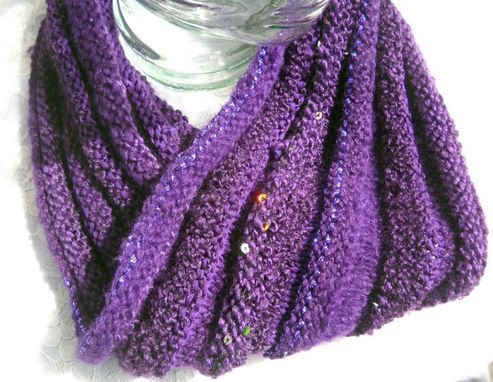 Custom Made Knitted Cowl With Multiple Yarns
