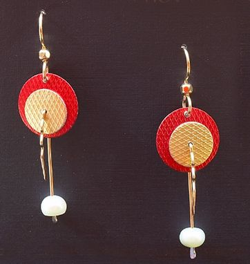 Custom Made Anodized Aluminum, 14kt. Gold Fill And Pearl Earrings