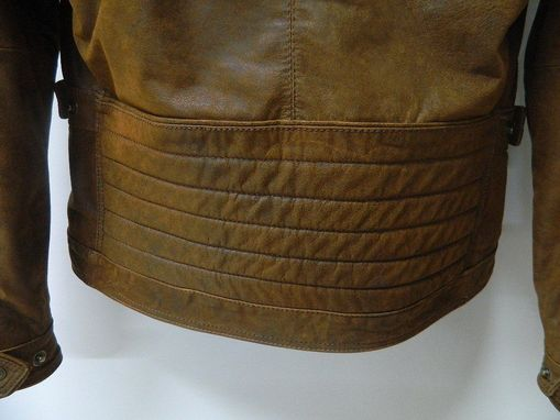 Custom Made Distressed Saddle Tan Calf Soft Leather Jacket Two Forn Zip Pockets One Inside