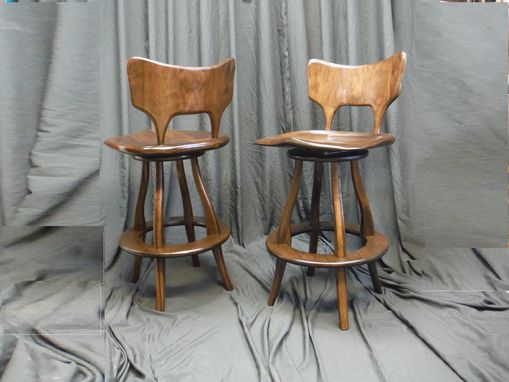 Custom Made Over-Sized Walnut Stools With Swivel