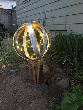 Custom Made Wine Barrel Sphere And Stand With Lights Yard Sculpture-Small