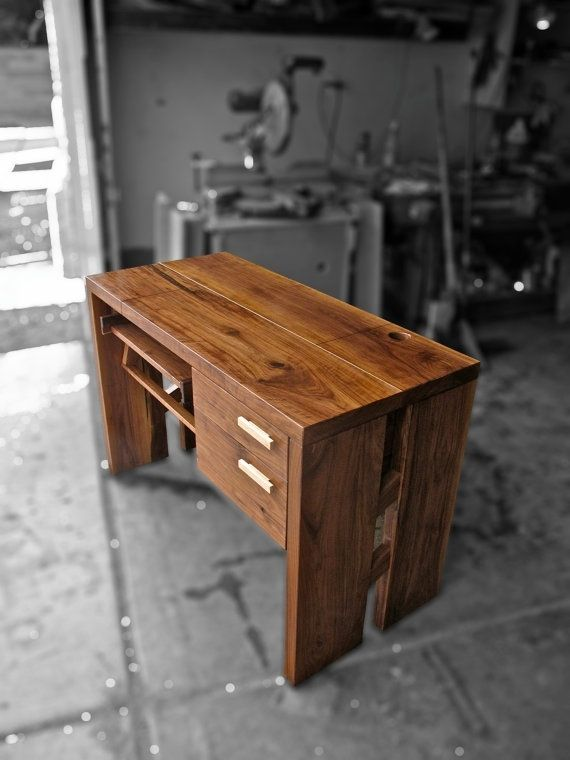 Custom Made Solid Walnut Computer Desk With Adjustable Tray Height ...