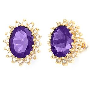 Custom Made Amethyst Diamond Earrings In 14k Yellow Gold, Ladies Earrings, Stud Earrings, Amethyst Earrings