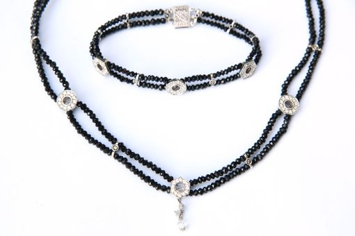 Custom Made Dazzling Diamond Drop And Black Spinel Necklace And Matching Bracelet