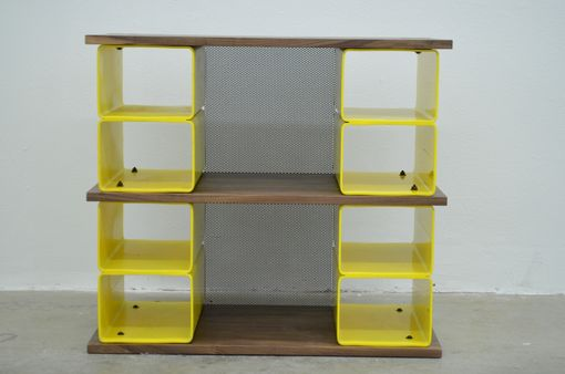Custom Made Walnut Wood And Steel Cubbie Bench And Storage