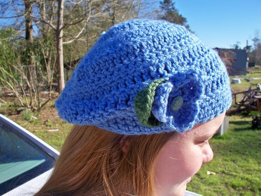 Custom Made 30% Off, End Of Winter Sale, Slouchy Beanie Hat With Three-Petal Flower And Leaf