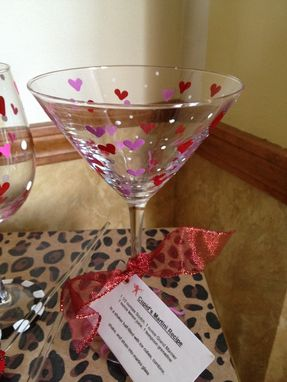 Custom Made Hand Painted Cupid Glassware Martini Wine Goblet Champagne