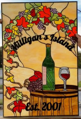 "Custom Made Stained Glass Panel - ""Wine Cellar Theme"" (P-51)"