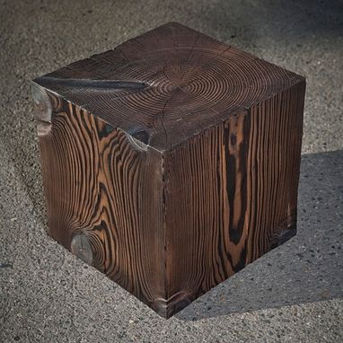 Custom Made Solid Wood Cube Table