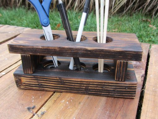 Custom Made Desk Organizer Made From Reclaimed Wood Pallets - Wood Desk Caddy - Wood Desk Storage
