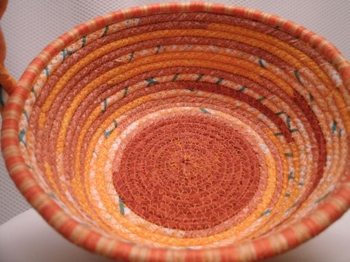Custom Made Cloth Basket W/Handle -Coiled - Clothesline Handwrapped In Fabric. Small Round -Shades Of Orange.