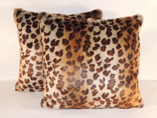 Custom Made African Leopard Brown Beige Faux Fur 18 X 18 In. Decorative Pillow - Set Of 2