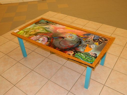 Custom Made Cherry Teal Mural Table