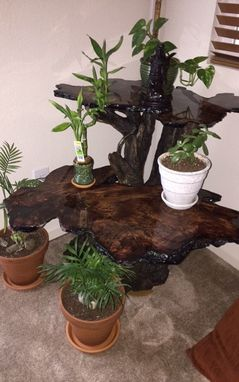 Custom Made Reclaimed Redwood Burl 2 Tier Accent Table
