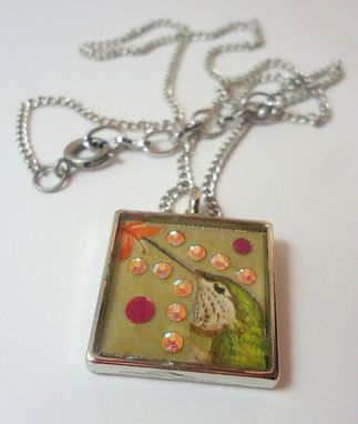 Custom Made Crystal Hummingbird Resin Necklace In Silver Square Bezel, Ooak