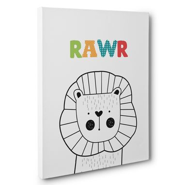 Custom Made Lion Rawr Nursery Canvas Wall Art