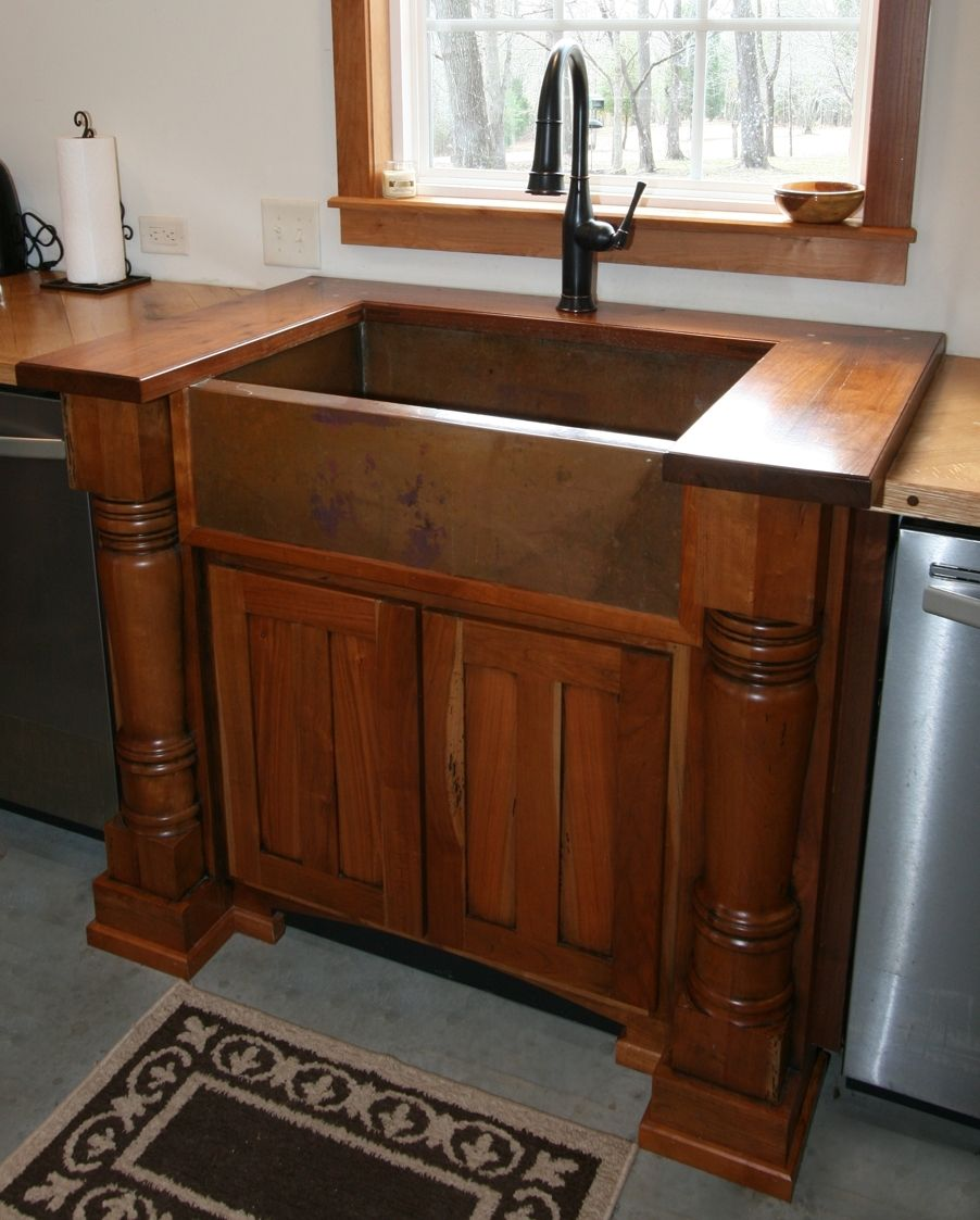 Handmade Cherry Sink Cabinet With Walnut Top And Handcrafted Copper Farm Sink By MOSS Farm