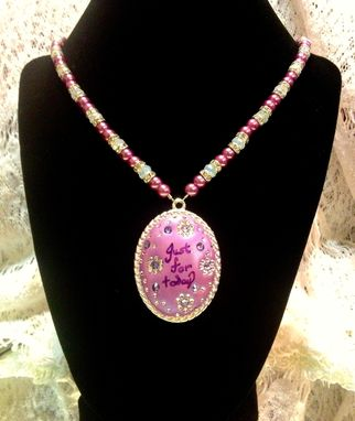 Custom Made Silver Oval Pendant With Swarovski Crystals Embedded In Crystal Clay On Beaded Necklace