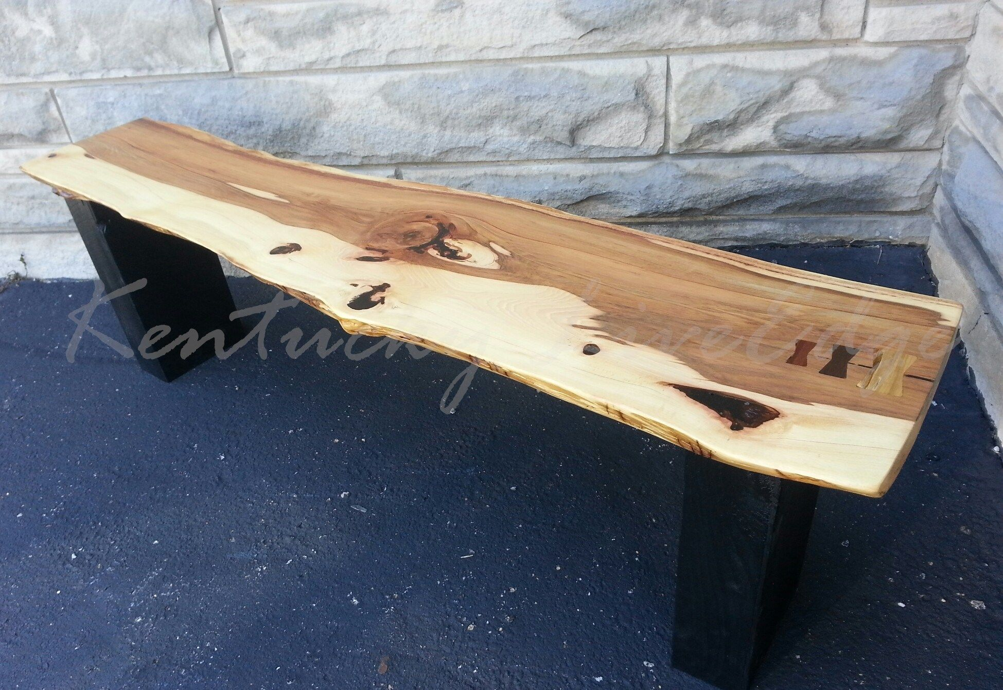Hand Crafted Live Edge Bench Modern Bench Modern Coffee