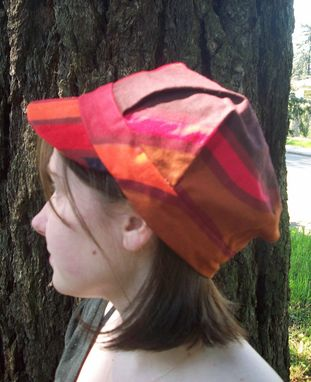 Custom Made Engineer Cap In Funky Swirls Of Red, Orange, Tan And Navy