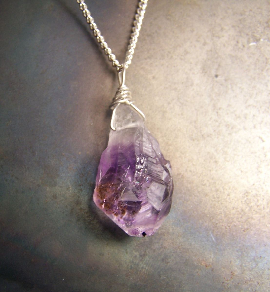 amethyst quartz pendant necklace crystal bullet stone short