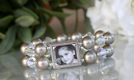 Custom Made Photo Bracelet With Platinum Swarovski Pearls And Clear Crystal Bicones For Mother Of The Bride And Groom