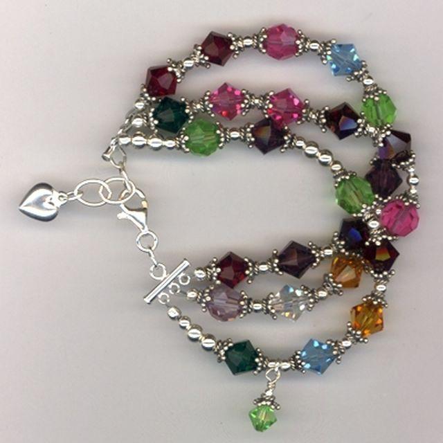 Custom Swarovski Crystal Pearl Sterling Beaded Mother S Charm Bracelet By Melinda Jernigan