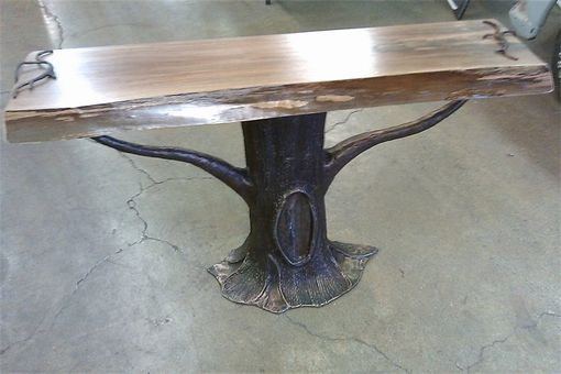 Custom Made Sculptural Tree Table With Live Edge Top
