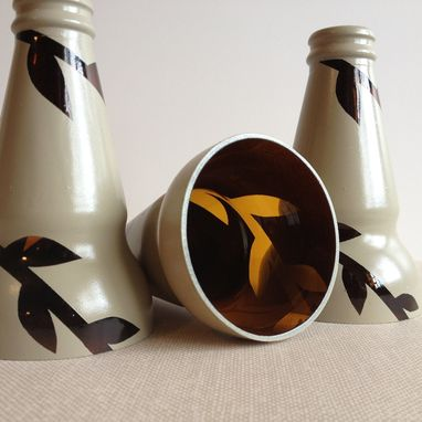 Custom Made Candle Stick Holder, Painted Glass, Vine, Taupe, Light Brown, Set Of Three