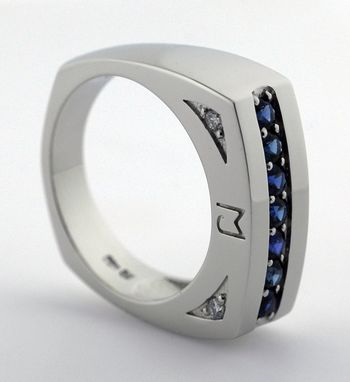 Custom Made White Gold Or Platinum Sapphire Men's Ring With Initials
