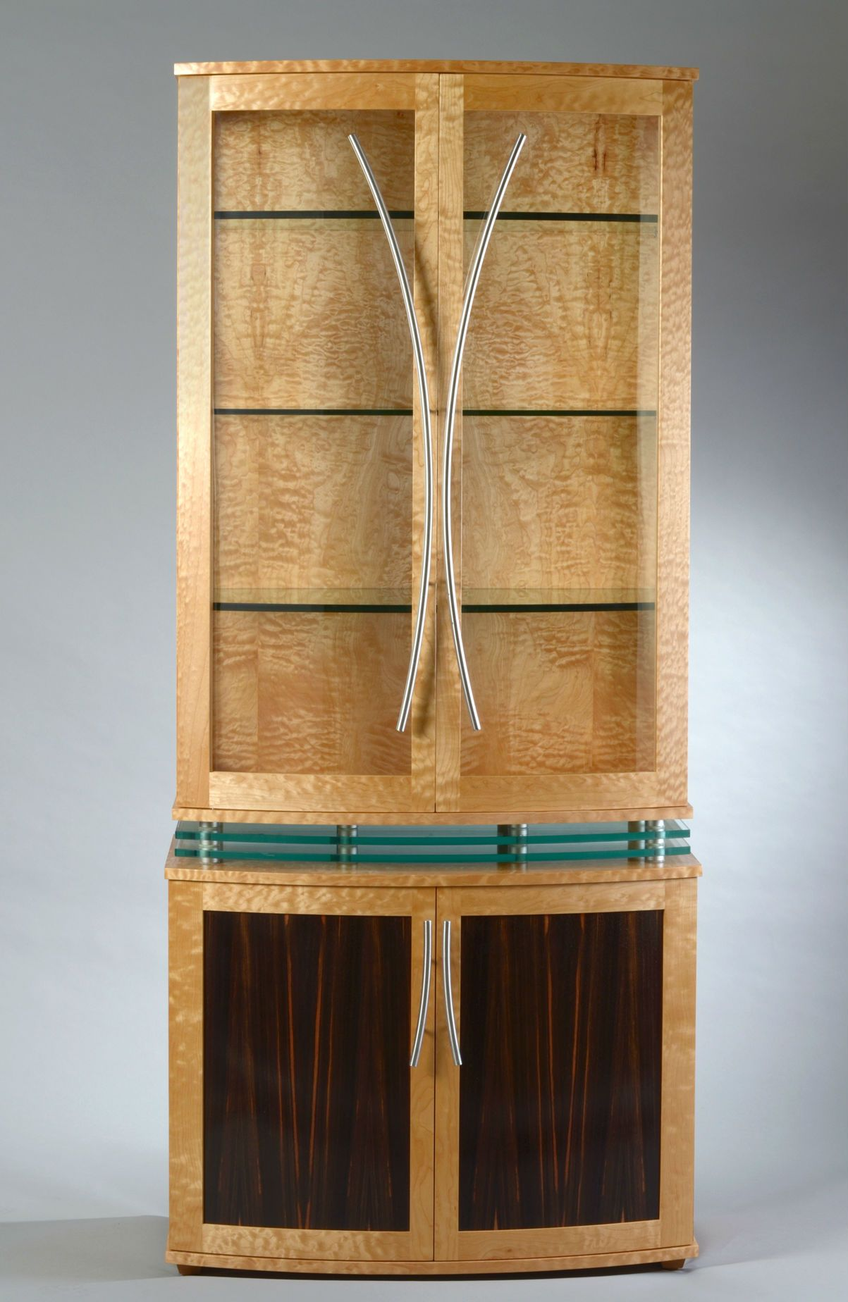 Custom Made China Cabinet Art Deco Style Modern Display Quilted Maple Curved Front By Nathan Hunter Design Custommade