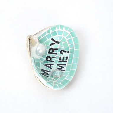 Custom Made Marry Me Unique Wedding Proposal Shell Ring Holder