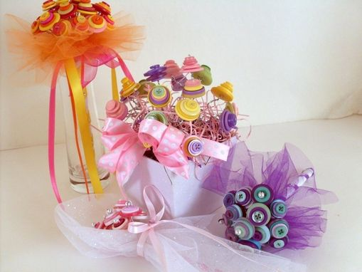 Custom Made Bright Tutti Fruiti Bouquet With Multi-Colored Buttons