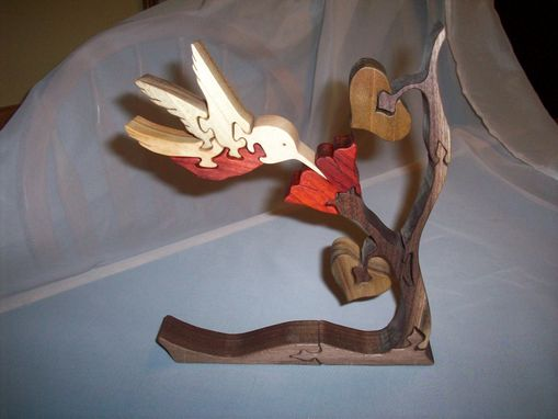 Custom Made Black Walnut, Pauduk, Poplar, Cherry, Maple Hummingbird Puzzle.