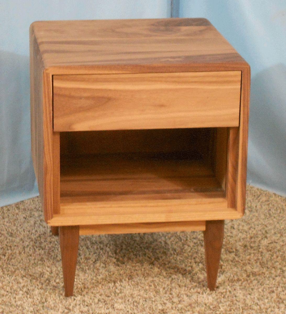 Custom Made 1 Drawer Danish Modern Nightstand In Sappy Walnut Item 1d631