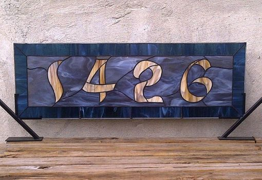Custom Made Stained Glass Window Panel / Transom With Bold House Number (Am-40)