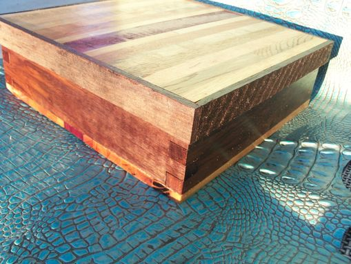 Custom Made Upcycled Wooden Shoebox In Barn Wood And Purpleheart