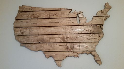 Custom Made Usa Map Large Wooden Wall Art