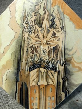 Custom Made Nyc Art Deco Painting - St. Bart's Adjacent, Rca General Electric Building On Wood Panel