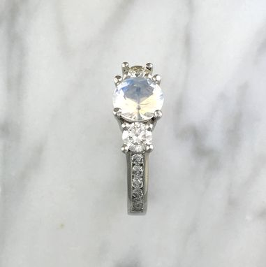 Custom Made Three Stone Round Blue Rainbow Faceted Moonstone W/ Accent Diamonds In Platinum Setting