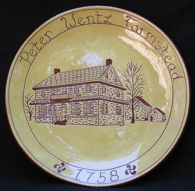 Custom Made Redware Historic Building Plate Decorated Using The Sgraffito Technique