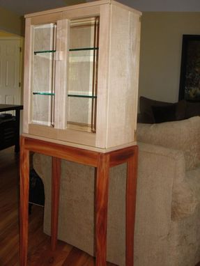 Custom Made Cabinet, Soft Maple On African Mahogany Stand
