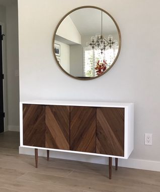 Custom Made Chevron Cabinet | Walnut